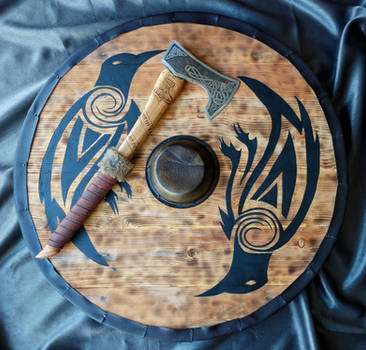 Finished Viking axe and shield