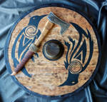 Finished Viking axe and shield by fractured100