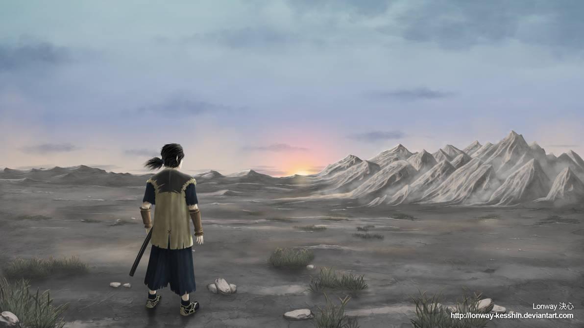 Samurai contemplating the horizon