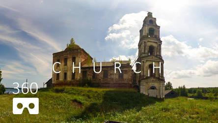Destroyed village church. Panoramic 360-video UHD