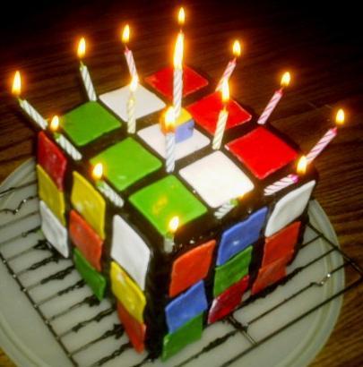 Rubik's Cube Cake. Candles