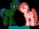 OC ponies - Spark Gap and Dahlia by BellaCielo
