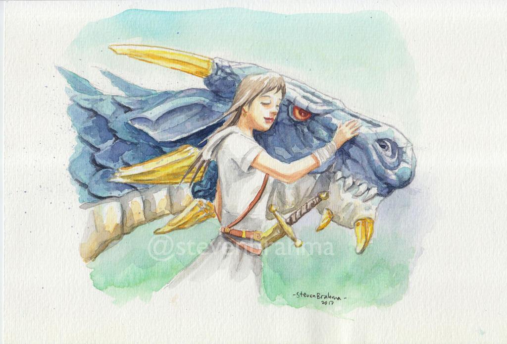 Girl and Dragon by stevenbrahma