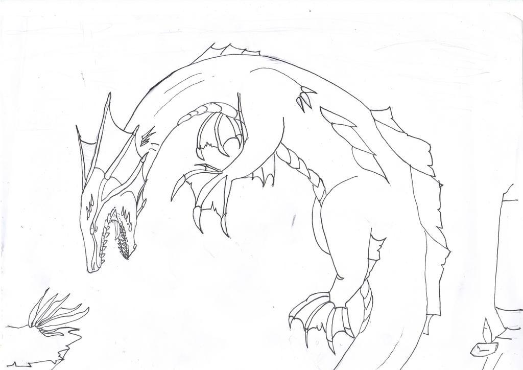 Sea dragon Line art by Titanium-Zen
