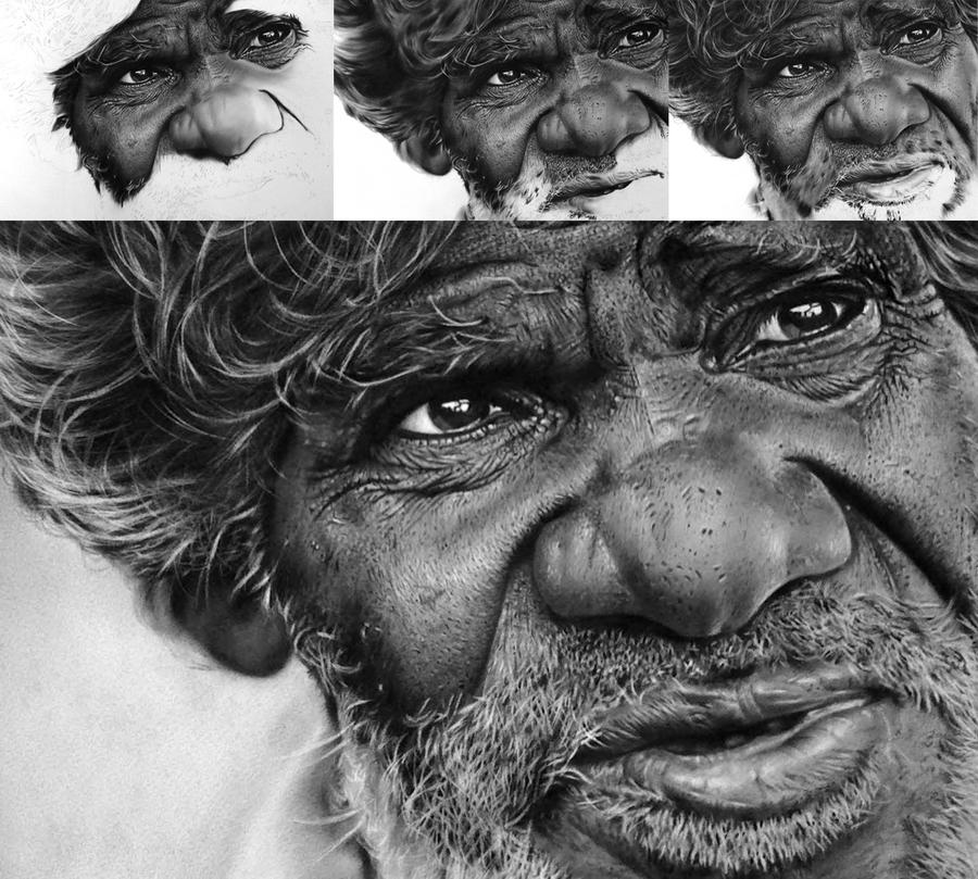 Charcoal drawing stages by nartbits on DeviantArt