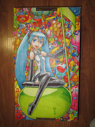 Hatsune Miku on a box by cattoy-bn