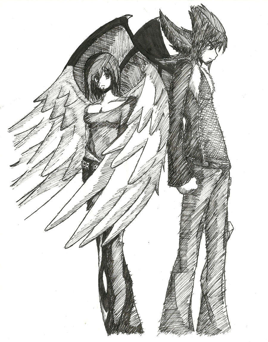Angel and Demon by Misuki-Hikotsu on DeviantArt Anime Angel And Demon Drawing