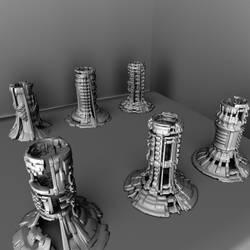 Nanogimmick Towers by intermatrixnaut