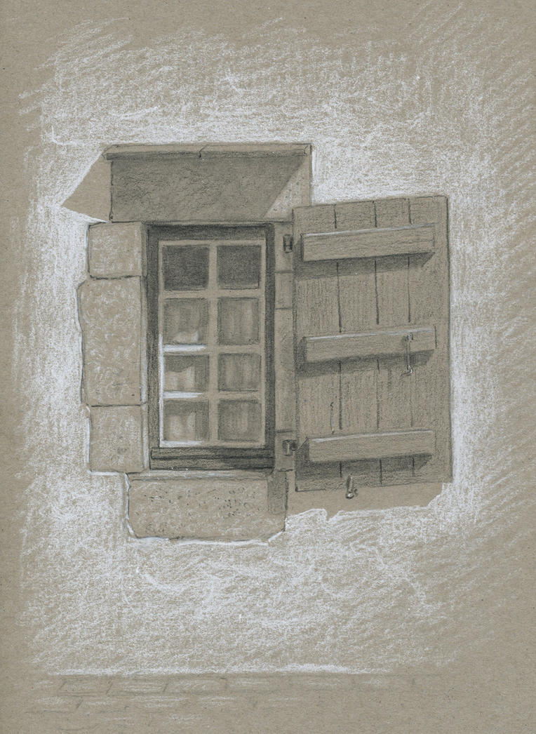 Window : Black and white pencil on sketch pape by wimke