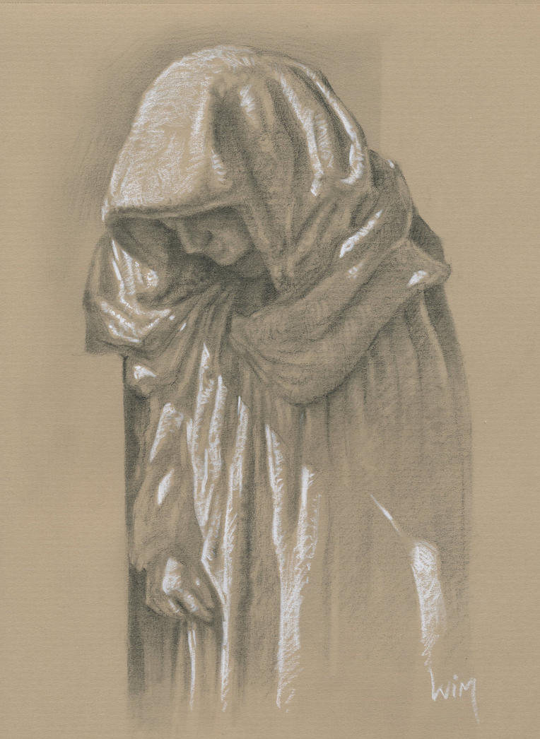 Statue : Black and white pencil on kraft paper by wimke