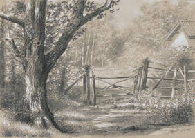 The path : Pencils and markers on toned paper by wimke