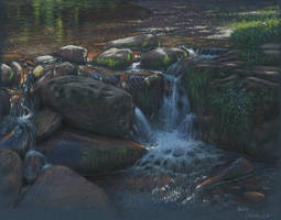 The river : Pastel on Ingres paper by wimke