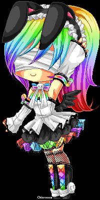 Pixel Rainbow Bunny by Chikukko