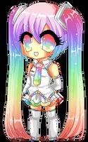 Pixel Rainbow Miku by Chikukko