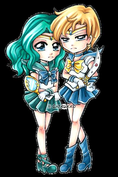 Neptune and Uranus by Chikukko