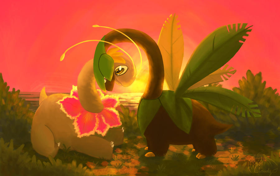 Meganium and Tropius by DragonClaudz on DeviantArt
