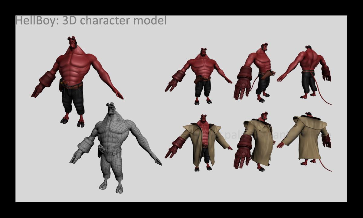 Hellboy 3d character model by palp on deviantart for Deviantart 3d models