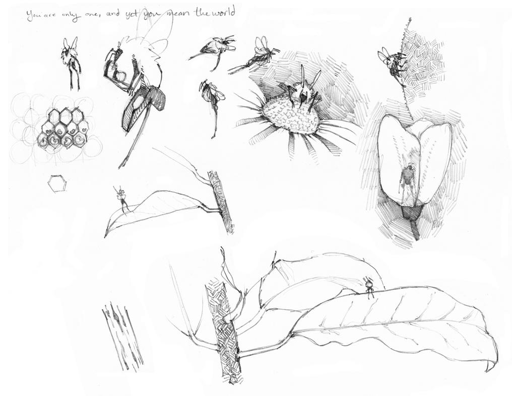 Bee Sketches Plants by CheiftainMaelgwyn