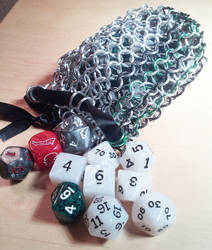 Chainmail Dice Bag (Green/Black)