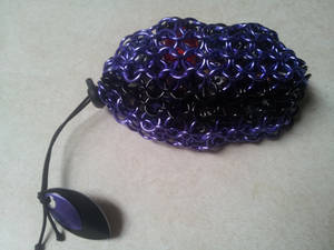 Purple and Black Chainmail Dice Bag