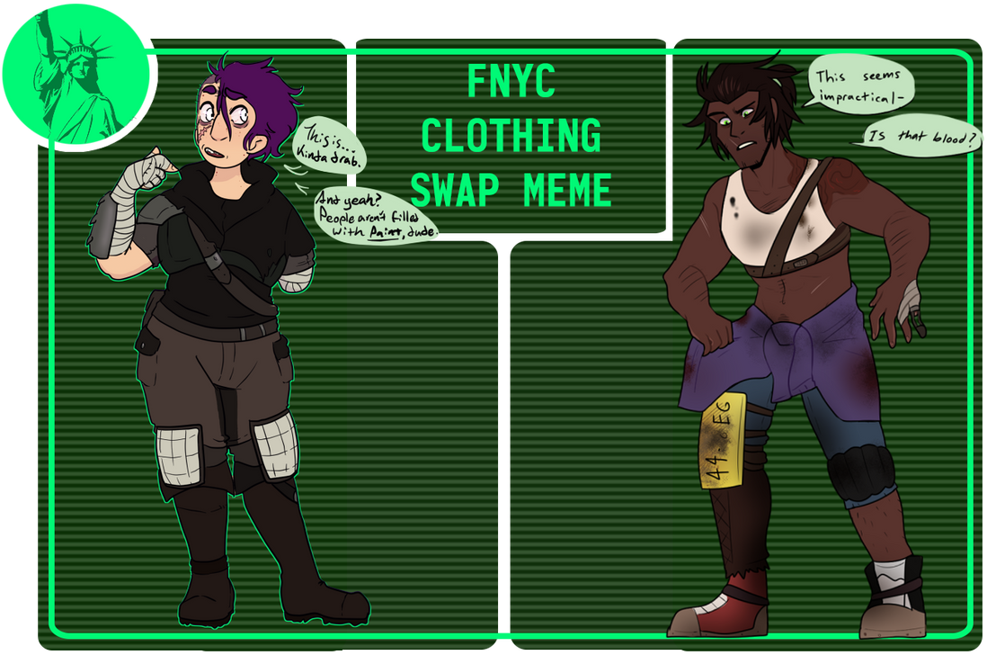 Fallout: NYC Clothes Swap Meme [COLLAB] PART II by Chickenly
