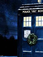 Christmas TARDIS by saffiremoon21