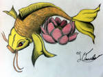 Koi Fish and Lotus Flower by lornelas90