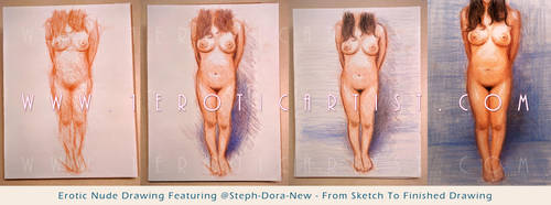 Erotic nude drawing - Sketch to finished by 1EroticArtist