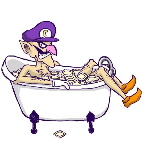 Waluigi In A Bathtub Full Of Ravioli by KatRaccoon