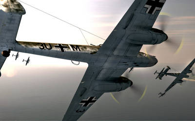 Bf-110's diving into attack over the Channel by TarJakArt