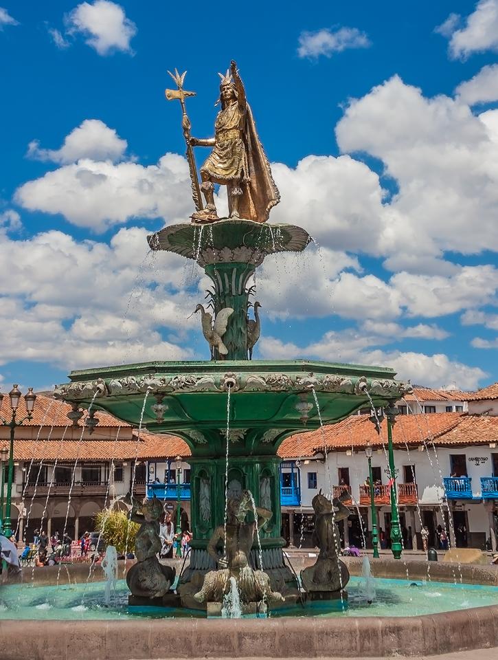 Pachacuti Fountain - Cuzco Peru by TarJakArt