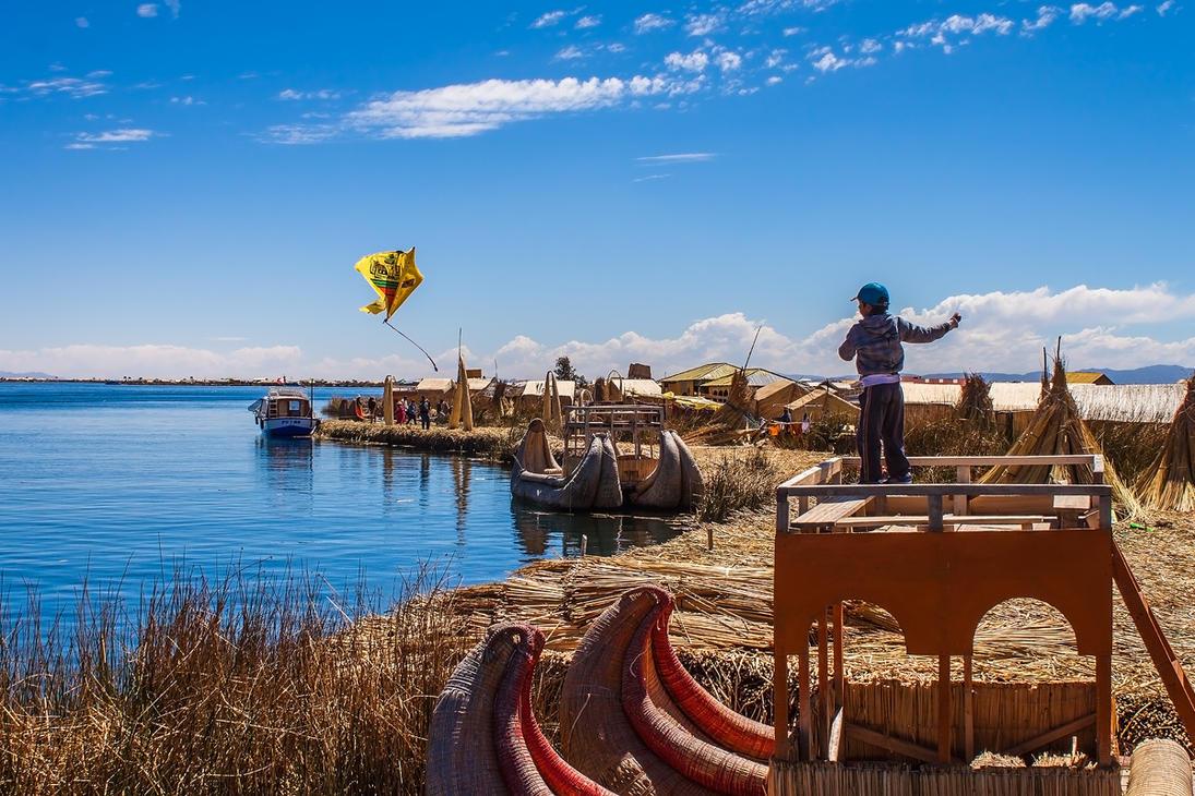 Uros Islands Kite Boy by TarJakArt