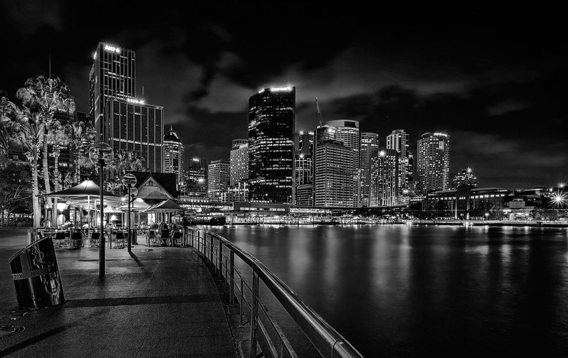 Sydney Nightscape BW by TarJakArt