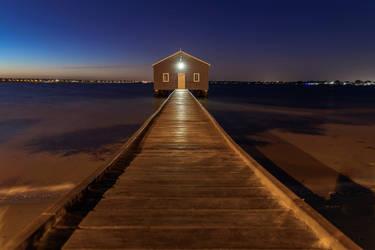 Blue Boatshed by TarJakArt