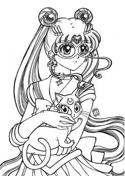 Sailor Moon and Luna