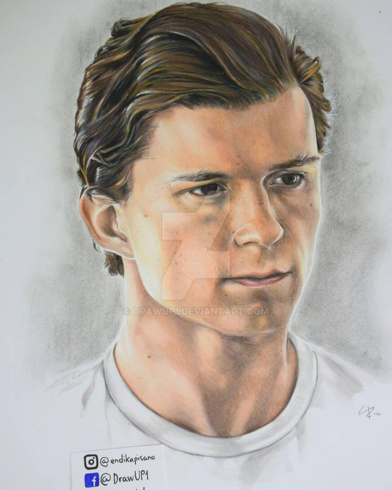 Tom Holland Drawing Spiderman By Drawup1 On Deviantart