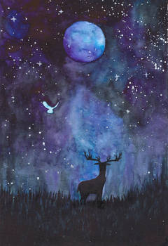 Night Sky with the Moon a Deer and an Owl
