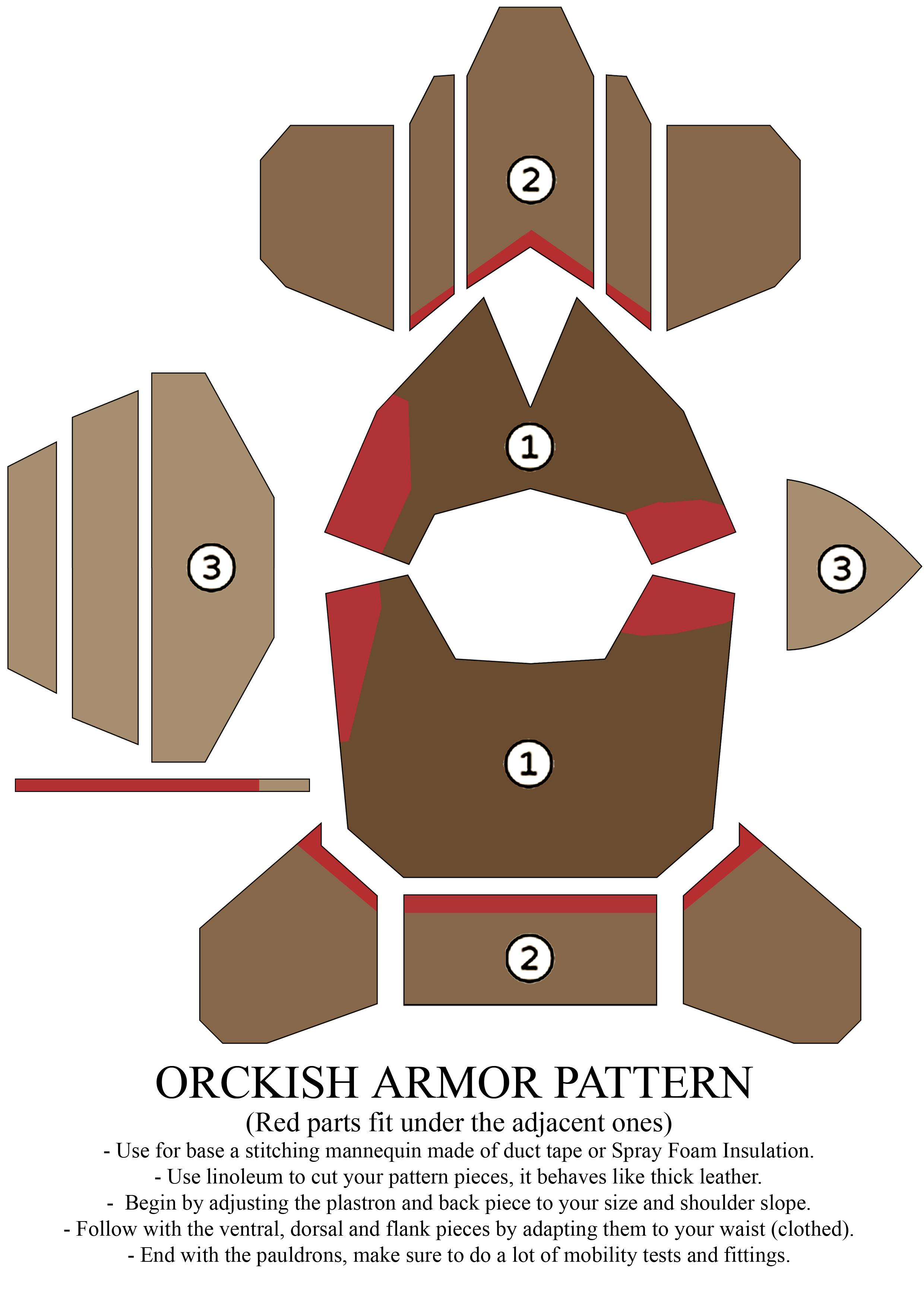 cardboard armour template - orckish armor pattern by zapan99 on deviantart