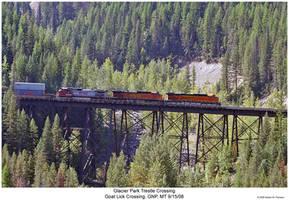 Glacier Park Trestle Crossing by hunter1828