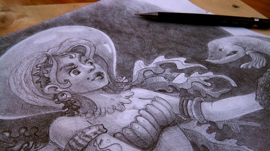 A jellyfish-ed mermaid by NandudaLama
