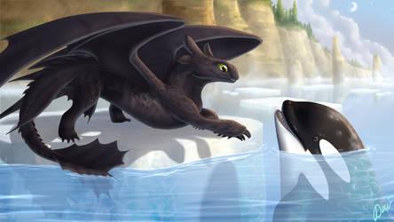 Nightfury And Orca by svaend