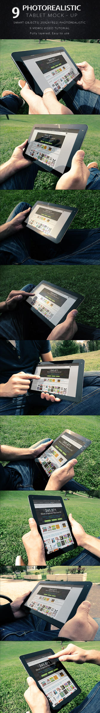 Photorealistic Tablet With Hands Mock-Up by KILVAM