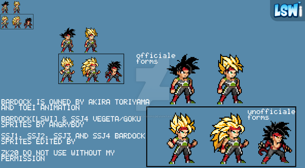 Bardock All Forms Lswi Sprite Style By Supershadiw1010 On Deviantart
