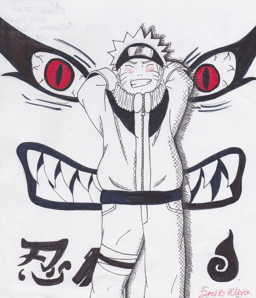 Naruto With The 9-tails Behind By Pearl-eye117 On DeviantArt
