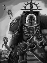 Imperial Fists Chaplain Kronah - Grey scale. by PlayCeboVision