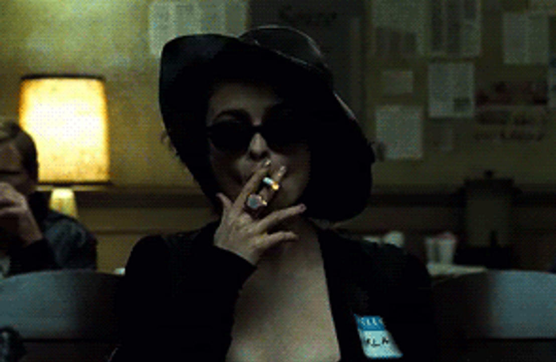 Helena Bonham Carter smoking a cigarette (or weed)