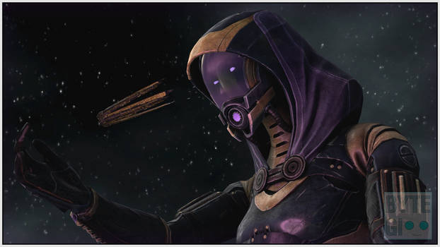 Gigantic Tali looking at the Citadel