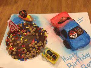 Paw Patrol and Race Car Cake