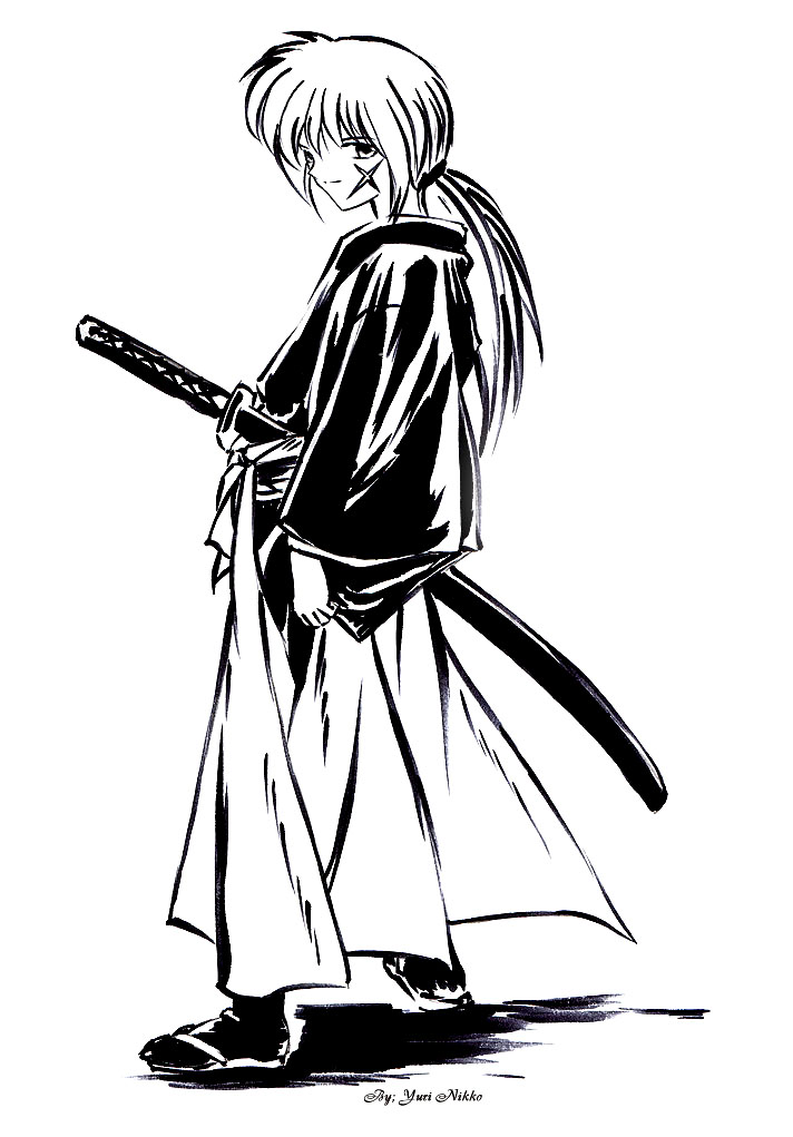 Kenshin Black+White by Yuri-Nikko