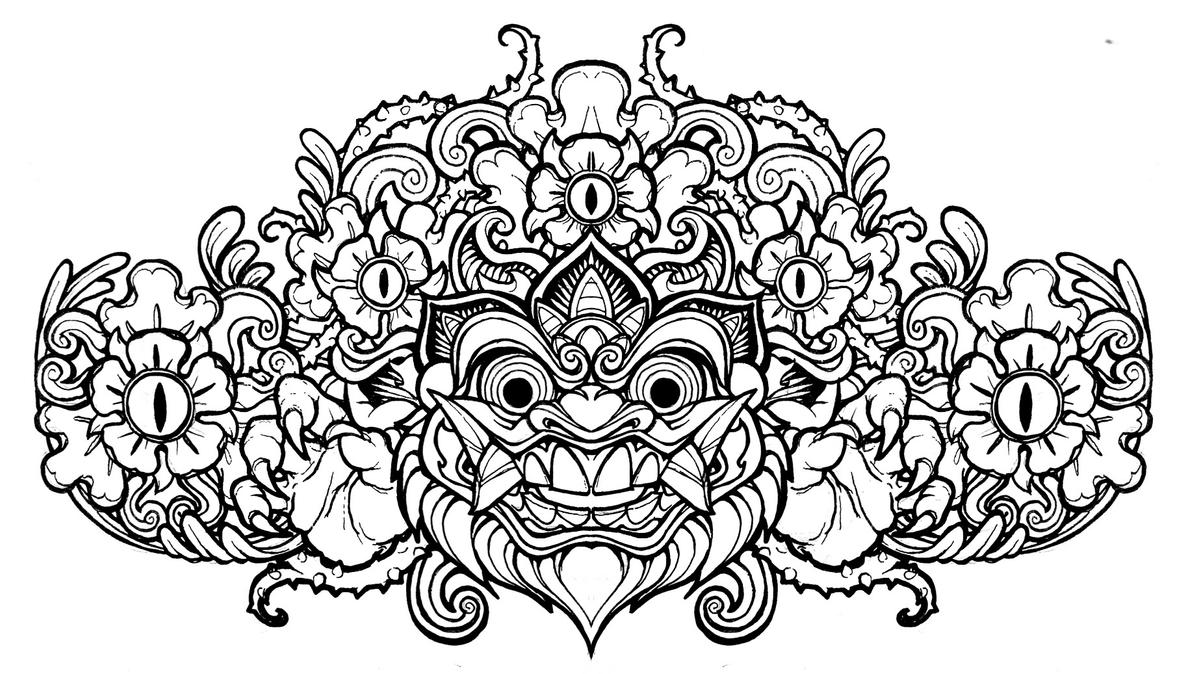 Barong Head line art by mostlymade on DeviantArt